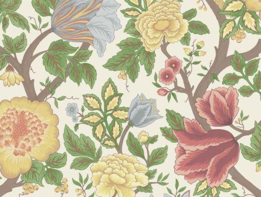 Яркие цветочные обои в сочных летних цветах, на английских обоях от Cole and Son, для прихожей, The Pearwood Collection, Английские обои, Обои для прихожей, Обои с цветами, Хиты продаж