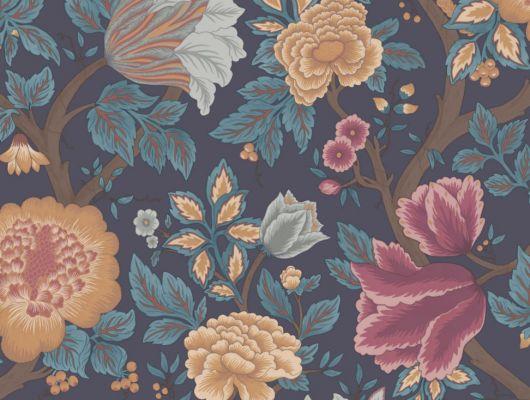 Флизелиновые обои для стенс пышным цветочным орнаментом на темно-синем фоне, The Pearwood Collection, Английские обои, Обои для стен, Флизелиновые обои, Хиты продаж