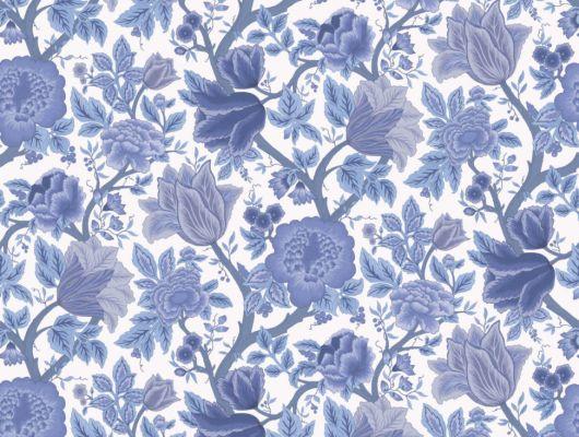 Обои для комнаты с крупным цветочным дизайном выполненным в синих оттенках на светлом фоне купить в Москве, The Pearwood Collection, Английские обои, Обои для комнаты, Обои с рисунком