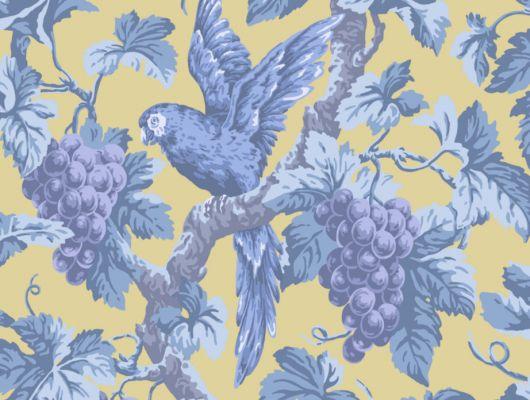 Обои из Англии с синим рисунком в виде попугая садящегося на виноградную ветку, на желтом фоне, станут отличным решением для гостиной или столовой, The Pearwood Collection, Английские обои, Новинки, Обои для гостиной