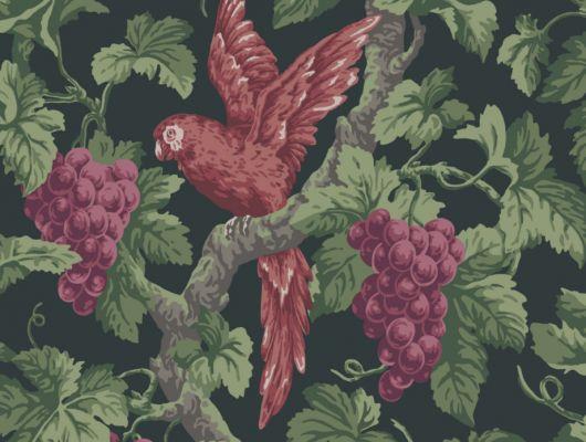 Обои с дизайнерским рисунком из красных попугаев грациозно садящихся на ветку изобильно заросшую красными гроздями винограда, заказать с доставкой на дом, The Pearwood Collection, Английские обои, Дизайнерские обои