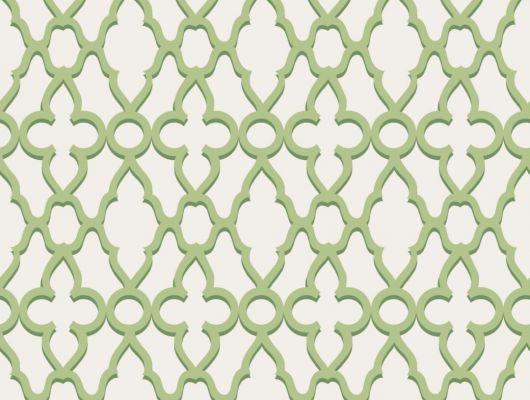 Обои на флизелине, с геометрическим рисунком зеленого цвета на приглушенно-бежевом фоне, The Pearwood Collection, Английские обои, Флизелиновые обои