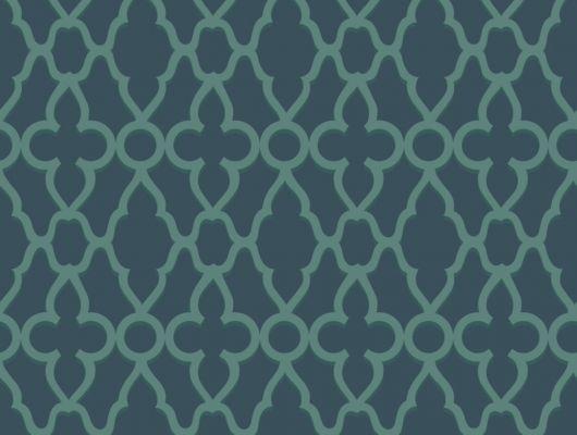 Обои из Англии для коридора, с классическим рисунком выполненным в темных сине-зеленых тонах, The Pearwood Collection, Английские обои, Обои для прихожей