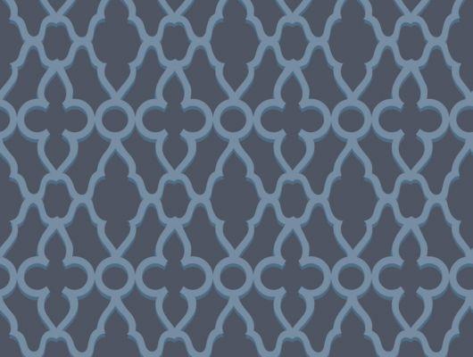 Обои с изысканным классическим рисунком лазурного цвета на темно-синем фоне, для декора стен в квартирах и помещениях, The Pearwood Collection, Английские обои, Обои для стен