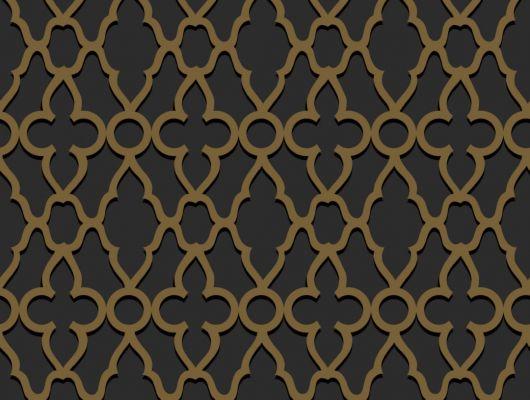 Обои с золотым классическим рисунком на темном фоне для украшения интерьера спальни или гостевой комнаты рассчитать количество, The Pearwood Collection, Английские обои, Новинки, Обои для спальни