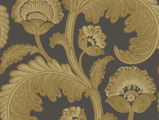 Английские обои с изысканным цветочным принтом выполненным в природных желтых оттенках на настоящем флоке на темном фоне, цена, The Pearwood Collection, Английские обои, Флоковые обои