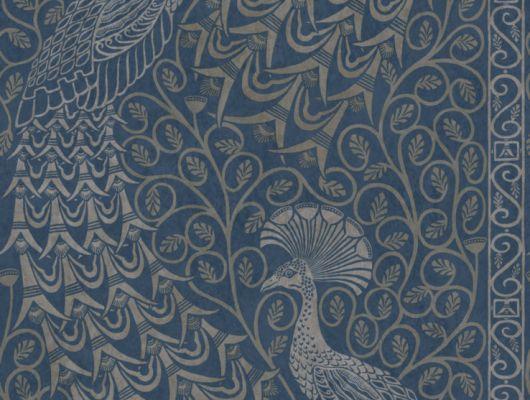 Обои, с серебрянными павлинами на синем фоне, привезенные из Англии для декора квартир и жилых помещений, с доставкой по Москве и России, The Pearwood Collection, Английские обои, Обои для квартиры