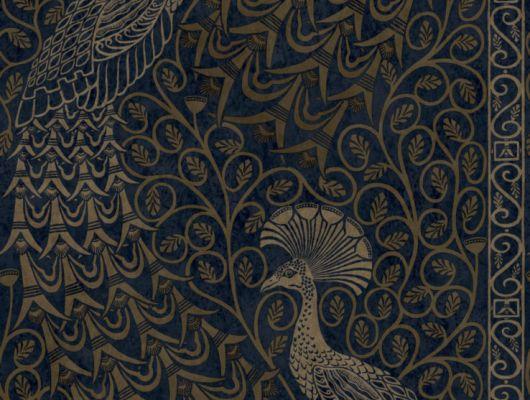 Переливающиеся золотом павлины на фоне цвета ночи, напечатаны английскими дизайнерами на обоях для вашей роскошной квартиры, The Pearwood Collection, Английские обои, Дизайнерские обои