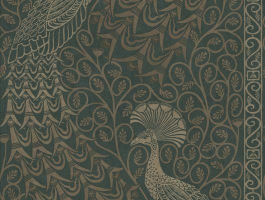 Английские обои с флизелиновой основой с изображением павлинов из тусклого золота на приглушенно оливковом фоне, под заказ, The Pearwood Collection, Английские обои, Флизелиновые обои