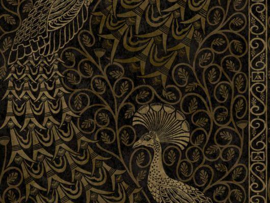 Сияющие золотом павлины на мрачном фоне нужны вам, если вы задумали сделать спальню в темных тонах, The Pearwood Collection, Английские обои, Обои для спальни