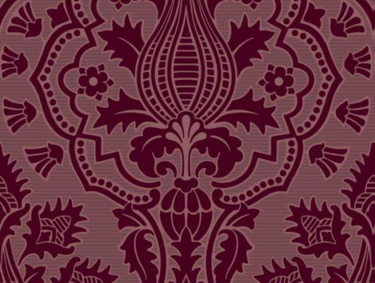 Флоковые обои из англии с дамасками выполненными в красных гранатовых тонах, The Pearwood Collection, Английские обои, Обои с рисунком, Флоковые обои