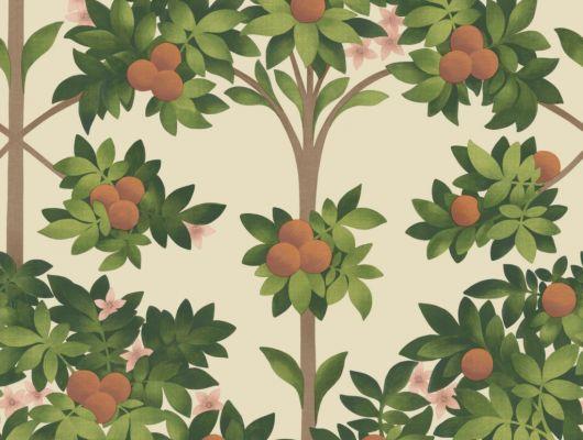 Флизелиновые обои пр-во Великобритания коллекция Seville от Cole & Son, с рисунком под названием Orange Blossom фруктовые деревья на светлом фоне. Обои для гостиной, обои для кухни. Онлайн оплата, большой ассортимент, бесплатная доставка, Seville, Обои для гостиной, Обои для кухни, Обои для спальни