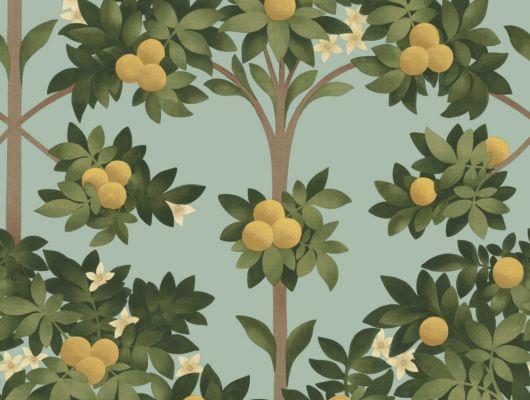 Флизелиновые обои пр-во Великобритания коллекция Seville от Cole & Son, с рисунком под названием Orange Blossom фруктовые деревья на светло-голубом фоне. Обои для гостиной, обои для кухни, обои для спальни. Онлайн оплата, большой ассортимент, бесплатная доставка, Seville, Дизайнерские обои, Обои для гостиной, Обои для кухни, Обои для спальни, Хиты продаж