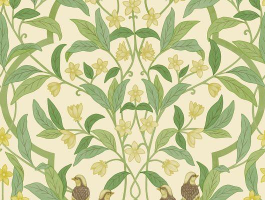 Флизелиновые обои пр-во Великобритания коллекция Seville от Cole & Son, рисунок под названием Jasmine & Serin Symphony изящный растительный узор с птицами на светлом фоне. Обои для гостиной, обои для спальни, обои для кухни. Онлайн оплата, большой ассортимент, купить обои в интернет-магазине Одизайн, Seville, Новинки, Обои для гостиной, Обои для кухни, Обои для спальни