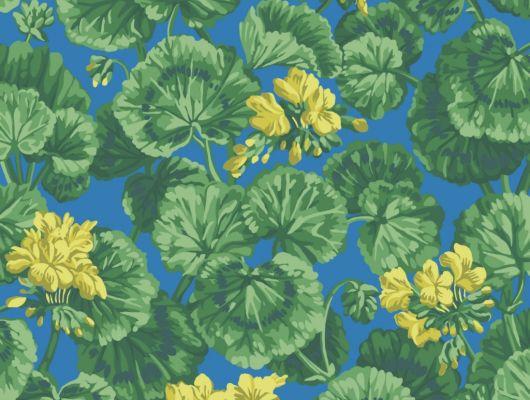 Флизелиновые обои пр-во Великобритания коллекция Seville от Cole & Son, рисунок под названием Geranium яркий цветочный принт на синем фоне. Обои для гостиной, обои для спальни, обои для кухни. Бесплатная доставка, купить обои, большой ассортимент, Seville, Дизайнерские обои, Обои для гостиной, Обои для кухни, Обои для спальни