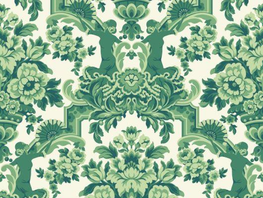 Флизелиновые обои пр-во Великобритания коллекция Seville от Cole & Son, рисунок под названием Lola крупный дамаск зеленого цвета на белом фоне. Обои для гостиной, обои для спальни, обои для кабинета. Большой ассортимент, бесплатная доставка, купить обои, Seville, Дизайнерские обои, Обои для гостиной, Обои для кабинета, Обои для спальни