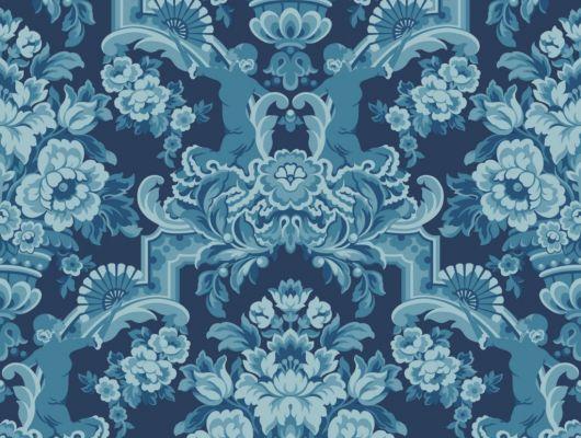 Флизелиновые обои пр-во Великобритания коллекция Seville от Cole & Son, рисунок под названием Lola крупный дамаск голубого цвета на темно-синем фоне. Обои для гостиной, обои для спальни, обои для кабинета. Большой ассортимент, бесплатная доставка, купить обои, Seville, Дизайнерские обои, Новинки, Обои для гостиной, Обои для кабинета, Обои для спальни