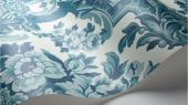 Флизелиновые обои пр-во Великобритания коллекция Seville от Cole & Son, рисунок под названием Lola крупный дамаск бирюзового оттенка на белом фоне. Обои для гостиной, обои для спальни, обои для кабинета. Большой ассортимент, бесплатная доставка, купить обои