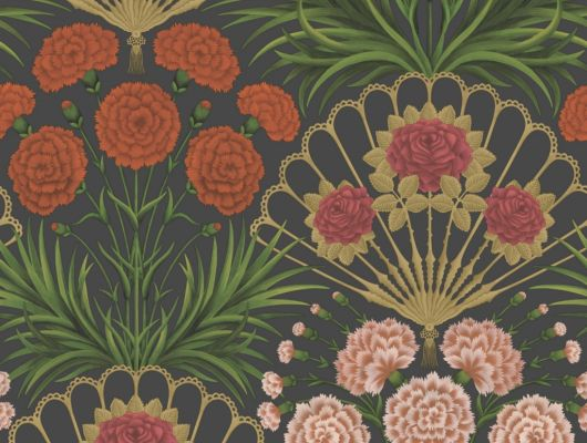 Флизелиновые обои пр-во Великобритания коллекция Seville от Cole & Son, яркий цветочный рисунок под названием Flamenco Fan на темном фоне. Обои для гостиной, обои для спальни. Купить обои в салоне Одизайн, большой ассортимент, бесплатная доставка, Seville, Дизайнерские обои, Обои для гостиной, Обои для спальни
