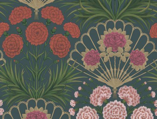 Флизелиновые обои пр-во Великобритания коллекция Seville от Cole & Son, волнующий цветочный рисунок под названием Flamenco Fan на темном фоне. Обои для гостиной, обои для спальни. Купить обои в салоне Одизайн, большой ассортимент, бесплатная доставка, Seville, Обои для гостиной, Обои для спальни