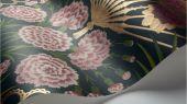 Флизелиновые обои пр-во Великобритания коллекция Seville от Cole & Son, волнующий цветочный рисунок под названием Flamenco Fan на темном фоне. Обои для гостиной, обои для спальни. Купить обои в салоне Одизайн, большой ассортимент, бесплатная доставка