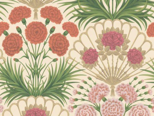 Флизелиновые обои пр-во Великобритания коллекция Seville от Cole & Son, яркий цветочный рисунок под названием Flamenco Fan на светлом фоне. Обои для гостиной, обои для спальни. Купить обои в салоне Одизайн, большой ассортимент, бесплатная доставка, Seville, Обои для гостиной, Обои для спальни