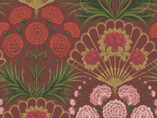 Флизелиновые обои пр-во Великобритания коллекция Seville от Cole & Son, волнующий цветочный рисунок под названием Flamenco Fan на красном фоне. Обои для гостиной, обои для спальни. Купить обои в салоне Одизайн, большой ассортимент, бесплатная доставка, Seville, Дизайнерские обои, Обои для гостиной, Обои для спальни, Хиты продаж