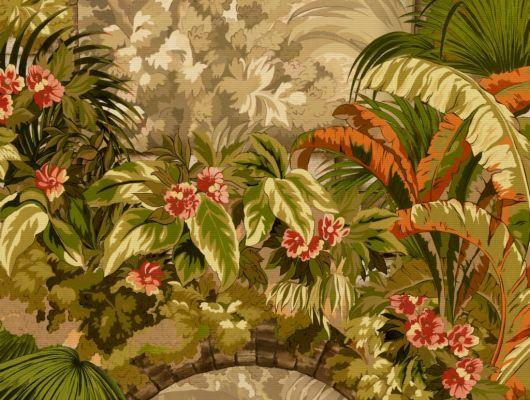 Флизелиновые обои пр-во Великобритания коллекция Seville от Cole & Son, с рисунком под названием Hispalis архитектурный и растительный узор, многоцветная палитра с оттенками хаки. Обои для гостиной, обои для спальни, для коридора. Купить обои в интернет-магазине, бесплатная доставка, Seville, Дизайнерские обои, Новинки, Обои для гостиной, Обои для спальни