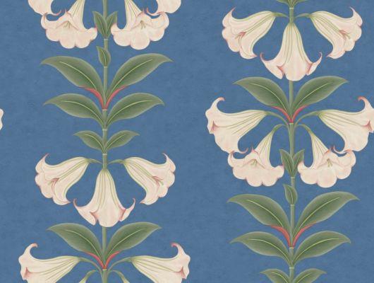 Флизелиновые обои пр-во Великобритания коллекция Seville от Cole & Son, с рисунком под названием Angel's Trumpet растительный рисунок в стиле ботанической иллюстрации  на ярком синем фоне. Обои для гостиной, обои для спальни, обои для коридора. Большой ассортимент, бесплатная доставка, купить обои, Seville, Дизайнерские обои, Обои для гостиной, Обои для кухни, Обои для спальни
