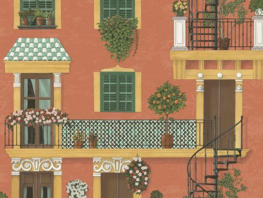 Флизелиновые обои пр-во Великобритания коллекция Seville от Cole & Son, с рисунком под названием Alfaro. Архитектурный рисунок яркой палитры на терракотовом фоне. Обои для кухни, обои для спальни, обои для коридора. Купить обои в студии Одизайн, онлайн оплата, бесплатная доставка, Seville, Дизайнерские обои, Обои для гостиной, Обои для кухни, Обои для спальни, Хиты продаж
