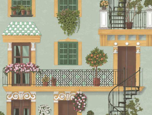 Флизелиновые обои пр-во Великобритания коллекция Seville от Cole & Son, с рисунком под названием Alfaro. Архитектурный рисунок яркой палитры на фоне цвета утиного яйца. Обои для кухни, обои для спальни, обои для коридора. Купить обои в студии Одизайн, онлайн оплата, бесплатная доставка, Seville, Новинки, Обои для гостиной, Обои для кухни, Обои для спальни