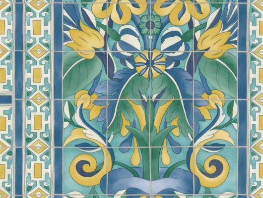 Флизелиновые обои пр-во Великобритания коллекция Seville от Cole & Son, с рисунком под названием Triana имитация расписанной керамической плитки преимущественно синий цвет. Обои для кухни, обои для гостиной, обои для коридора. Онлайн оплата, купить обои, большой ассортимент, Seville, Дизайнерские обои, Обои для гостиной, Обои для кухни, Хиты продаж