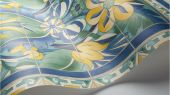 Флизелиновые обои пр-во Великобритания коллекция Seville от Cole & Son, с рисунком под названием Triana имитация расписанной керамической плитки преимущественно синий цвет. Обои для кухни, обои для гостиной, обои для коридора. Онлайн оплата, купить обои, большой ассортимент