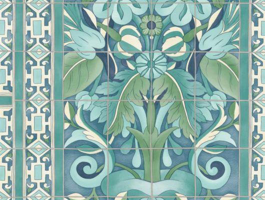 Флизелиновые обои пр-во Великобритания коллекция Seville от Cole & Son, с рисунком под названием Triana имитация расписанной керамической плитки преимущественно зеленый цвет. Обои для кухни, обои для гостиной, обои для коридора. Онлайн оплата, купить обои, большой ассортимент, Seville, Обои для гостиной, Обои для кухни