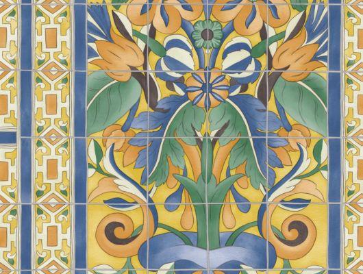 Флизелиновые обои пр-во Великобритания коллекция Seville от Cole & Son, с рисунком под названием Triana имитация расписанной керамической плитки преимущественно желтый цвет. Обои для кухни, обои для гостиной, обои для коридора. Онлайн оплата, купить обои, большой ассортимент, Seville, Новинки, Обои для гостиной, Обои для кухни