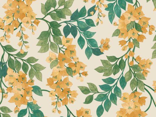 Флизелиновые обои пр-во Великобритания коллекция Seville от Cole & Son, переливающийся  цветочный рисунок желто-оранжевого цвета под названием Bougainvillea на светлом фоне. Обои для спальни, обои для кухни, обои для гостиной. Купить обои в салоне Одизайн, большой ассортимент, бесплатная доставка, Seville, Обои для гостиной, Обои для кухни, Обои для спальни, Хиты продаж