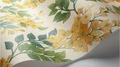 Флизелиновые обои пр-во Великобритания коллекция Seville от Cole & Son, переливающийся  цветочный рисунок желто-оранжевого цвета под названием Bougainvillea на светлом фоне. Обои для спальни, обои для кухни, обои для гостиной. Купить обои в салоне Одизайн, большой ассортимент, бесплатная доставка