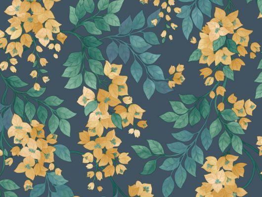 Флизелиновые обои пр-во Великобритания коллекция Seville от Cole & Son, переливающийся  цветочный рисунок цвета охра под названием Bougainvillea на темном фоне. Обои для спальни, обои для кухни, обои для гостиной. Купить обои в салоне Одизайн, большой ассортимент, бесплатная доставка, Seville, Обои для гостиной, Обои для кухни, Обои для спальни
