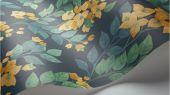 Флизелиновые обои пр-во Великобритания коллекция Seville от Cole & Son, переливающийся  цветочный рисунок цвета охра под названием Bougainvillea на темном фоне. Обои для спальни, обои для кухни, обои для гостиной. Купить обои в салоне Одизайн, большой ассортимент, бесплатная доставка