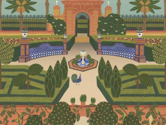 Флизелиновые обои пр-во Великобритания коллекция Seville от Cole & Son, живописный, красочный рисунок под названием Alcazar Gardens. Обои для гостиной. Купить обои в интернет-магазине, бесплатная доставка, большой ассортимент, Seville, Дизайнерские обои, Обои для гостиной, Хиты продаж