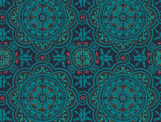 Флизелиновые обои пр-во Великобритания коллекция Seville от Cole & Son, рисунок под названием Piccadilly имитация керамической плитки в бирюзовом оттенке. Обои для кухни. Купить обои в интернет-магазине, бесплатная доставка, большой ассортимент, Seville, Обои для кухни