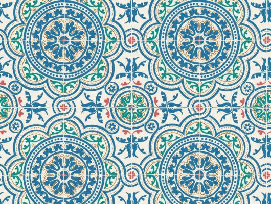 Флизелиновые обои пр-во Великобритания коллекция Seville от Cole & Son, рисунок под названием Piccadilly имитация керамической плитки в зеленом и синем цвете на светлом фоне. Обои для кухни. Купить обои в интернет-магазине, бесплатная доставка, большой ассортимент, Seville, Обои для кухни