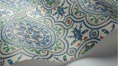 Флизелиновые обои пр-во Великобритания коллекция Seville от Cole & Son, рисунок под названием Piccadilly имитация керамической плитки в зеленом и синем цвете на светлом фоне. Обои для кухни. Купить обои в интернет-магазине, бесплатная доставка, большой ассортимент