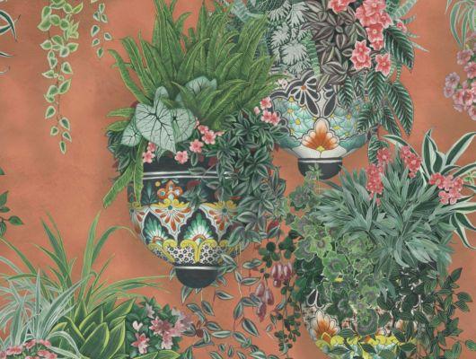 Флизелиновые обои пр-во Великобритания коллекция Seville от Cole & Son, рисунок под названием Talavera имитация стены терракотового цвета с цветами в горшках. Обои для гостиной, обои для кухни, обои для прихожей. Купить обои в салоне Одизайн, бесплатная доставка, оплата онлайн, Seville, Дизайнерские обои, Новинки, Обои для гостиной, Обои для кухни