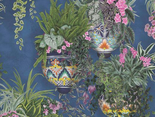 Флизелиновые обои пр-во Великобритания коллекция Seville от Cole & Son, рисунок под названием Talavera имитация стены синего цвета с цветами в горшках. Обои для гостиной, обои для кухни, обои для прихожей. Купить обои в салоне Одизайн, бесплатная доставка, оплата онлайн, Seville, Обои для гостиной, Обои для кухни
