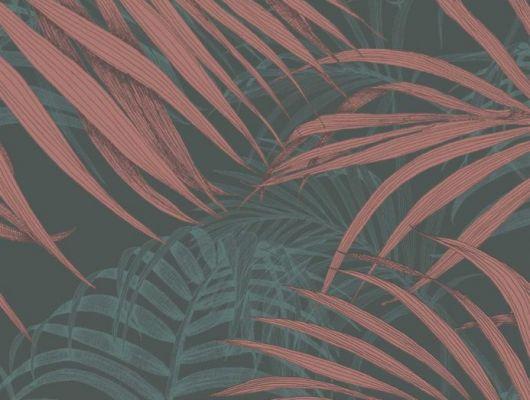 Обои Fardis - Maui  создают ощущение параллельного мира в с тропическими пальмами тихоокеанских стран. Арт. 117068 выполнен на фоне структурного металлика тёмного цвета с листьями рубинового и   бирюзового оттенка , создающие ощущение глубины в пространстве. Английские обои, Обои Fardis, Каталог обоев., SHANGRI LA, Обои для гостиной, Обои для кабинета, Обои для спальни