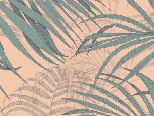 Обои Fardis - Maui  создают ощущение параллельного мира в с тропическими пальмами тихоокеанских стран. Арт. 117069 выполнен на фоне структурного металлика насыщенного персикового цвета с листьями бирюзового и серо-бежевого оттенка , создающие ощущение глубины в пространстве. Выбрать, заказать, оплатить., SHANGRI LA, Обои для гостиной, Обои для кабинета, Обои для спальни