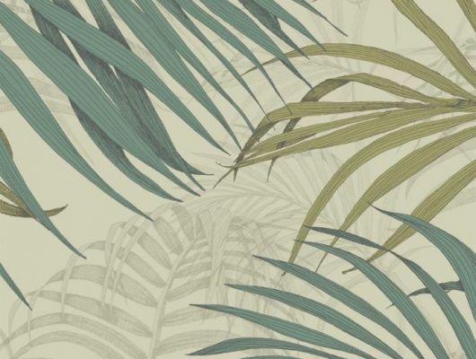 Обои Fardis - Maui  создают ощущение параллельного мира в с тропическими пальмами тихоокеанских стран. Арт. 117070 выполнен на фоне структурного металлика оливкового цвета с листьями бирюзового и лаймового оттенка, создающие ощущение глубины в пространстве. Английские обои, дизайнерские обои, Каталог обоев., SHANGRI LA, Обои для гостиной, Обои для кабинета, Обои для спальни