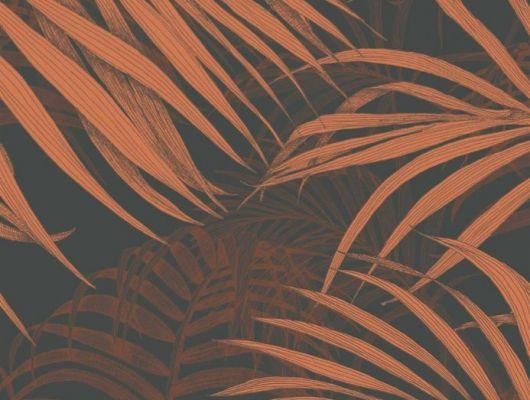 Обои Fardis - Maui  создают ощущение параллельного мира в с тропическими пальмами тихоокеанских стран. Арт. 117074 выполнен на фоне структурного металлика тёмного цвета с листьями пламенеющих оранжевых оттенков, создающие ощущение глубины в пространстве. Обои для квартиры, обои на стену, дизайнерские обои., SHANGRI LA, Обои для гостиной, Обои для кабинета, Обои для спальни, Хиты продаж