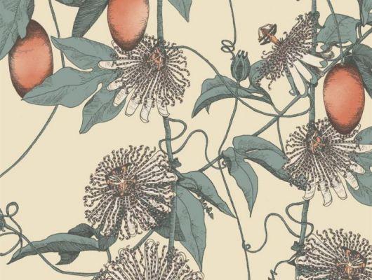Обои Fardis - Skardu арт. 117077, где представлен изысканный растительный узор из вьющихся стеблей страстоцвета, украшенного необычными цветами и красочными плодами оранжевых и бирюзовых оттенков, на фоне структурного металлика цвета шампанского.  Английские обои, подобрать обои, Каталог обоев., SHANGRI LA, Обои для гостиной, Обои для кухни, Обои для спальни